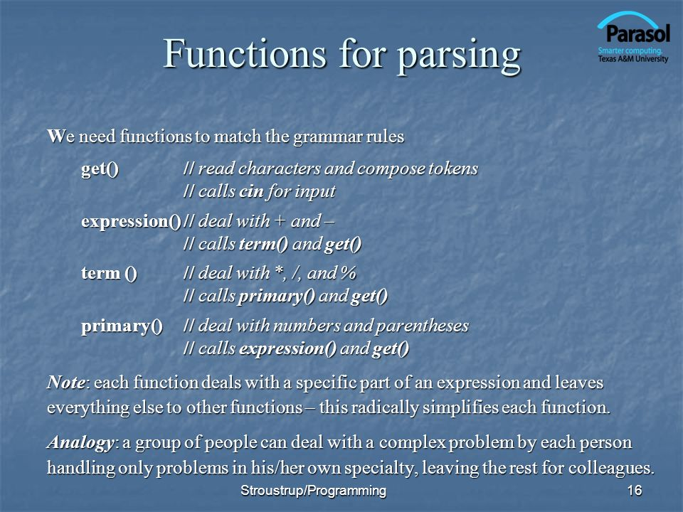 Functions for parsing