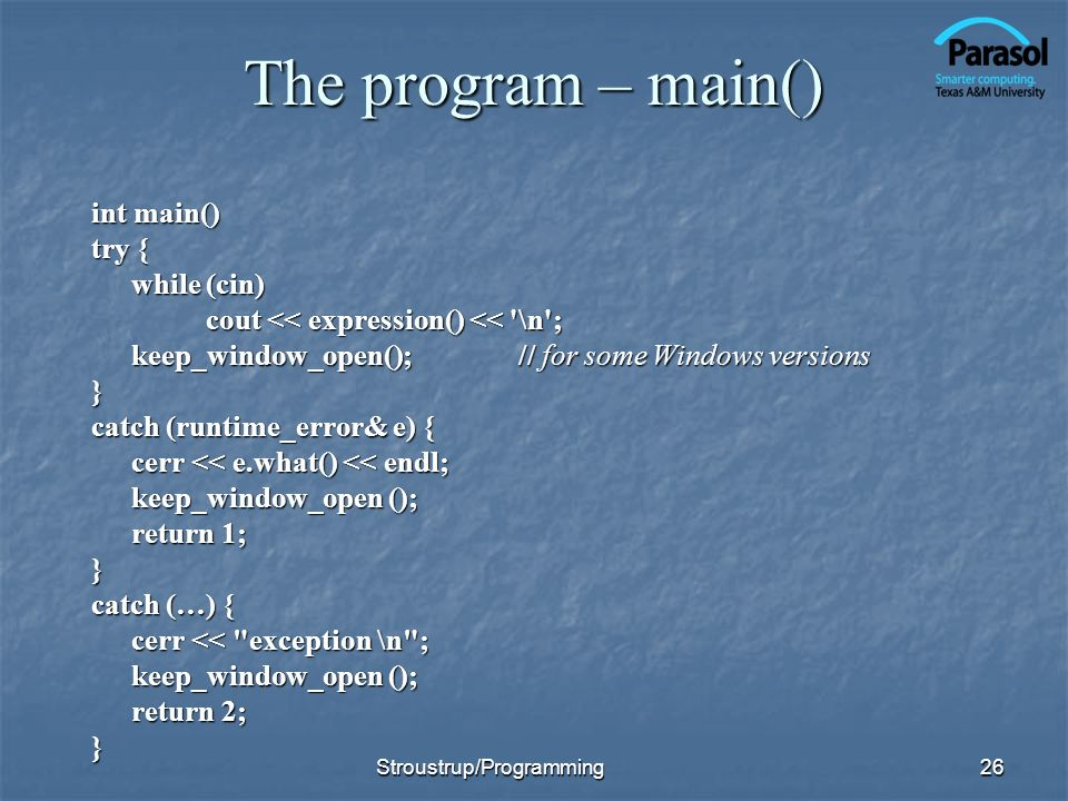 The program – main()