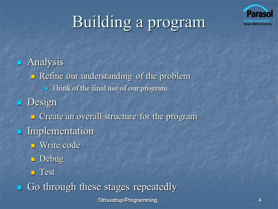 Building a program Analysis Design Implementation