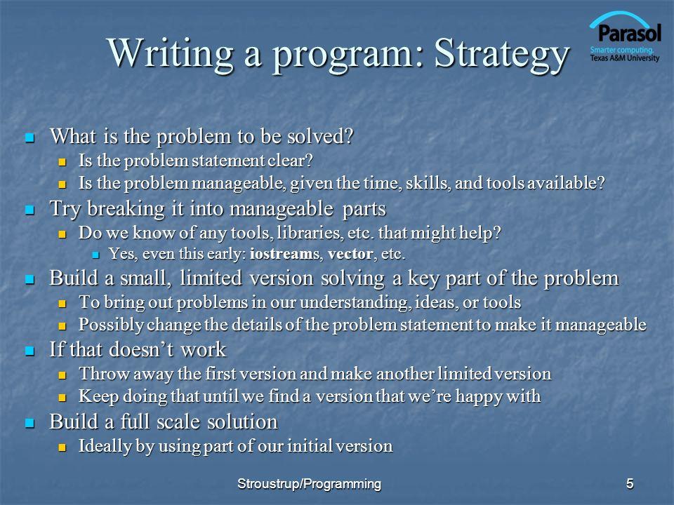 Writing a program: Strategy