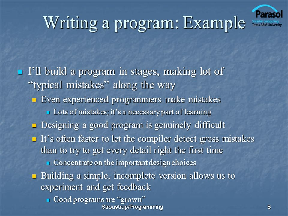 Writing a program: Example
