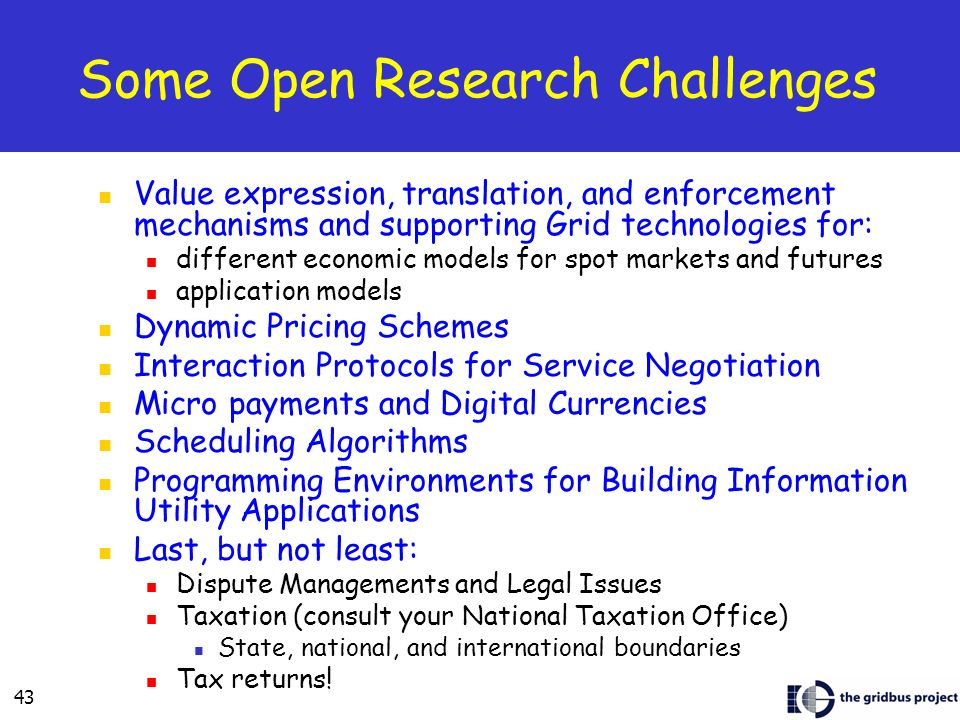 Some Open Research Challenges