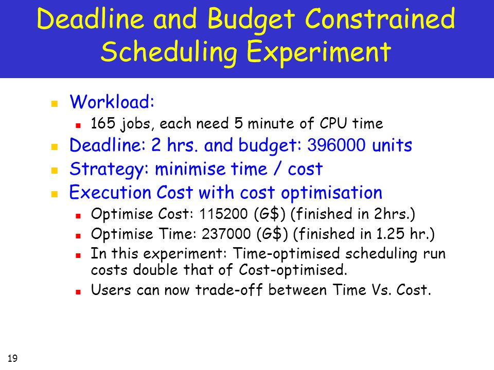 Deadline and Budget Constrained Scheduling Experiment