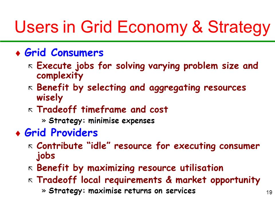 Users in Grid Economy & Strategy