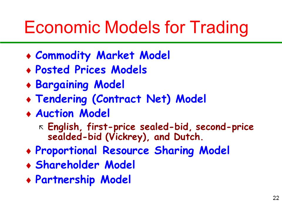 Economic Models for Trading