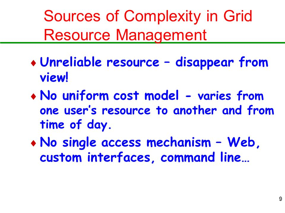 Sources of Complexity in Grid Resource Management