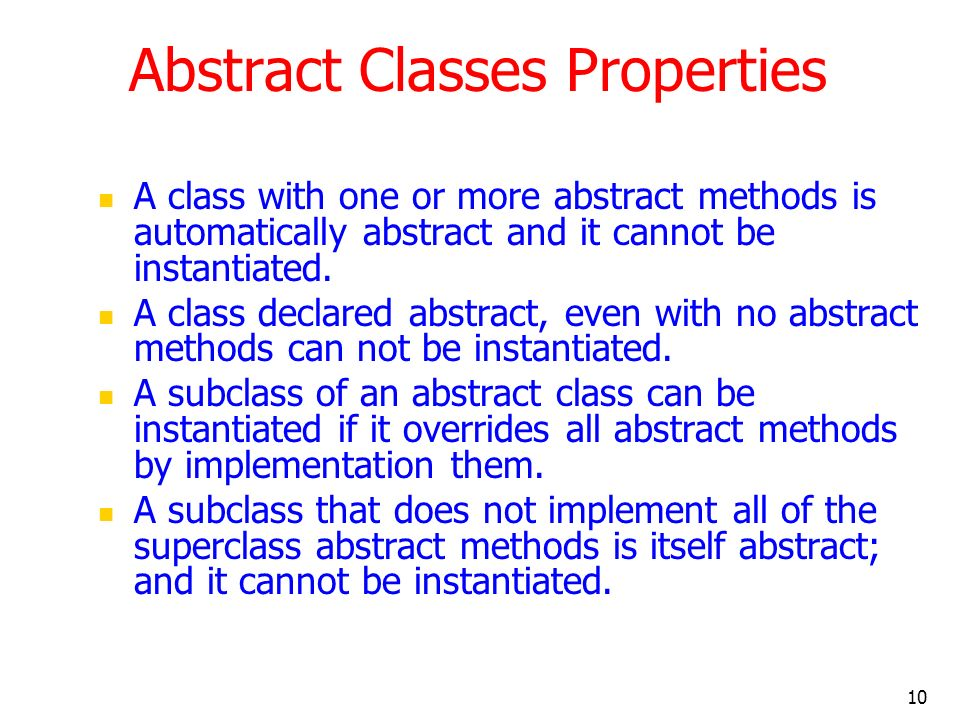 Abstract Classes Properties