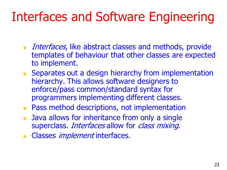 Interfaces and Software Engineering