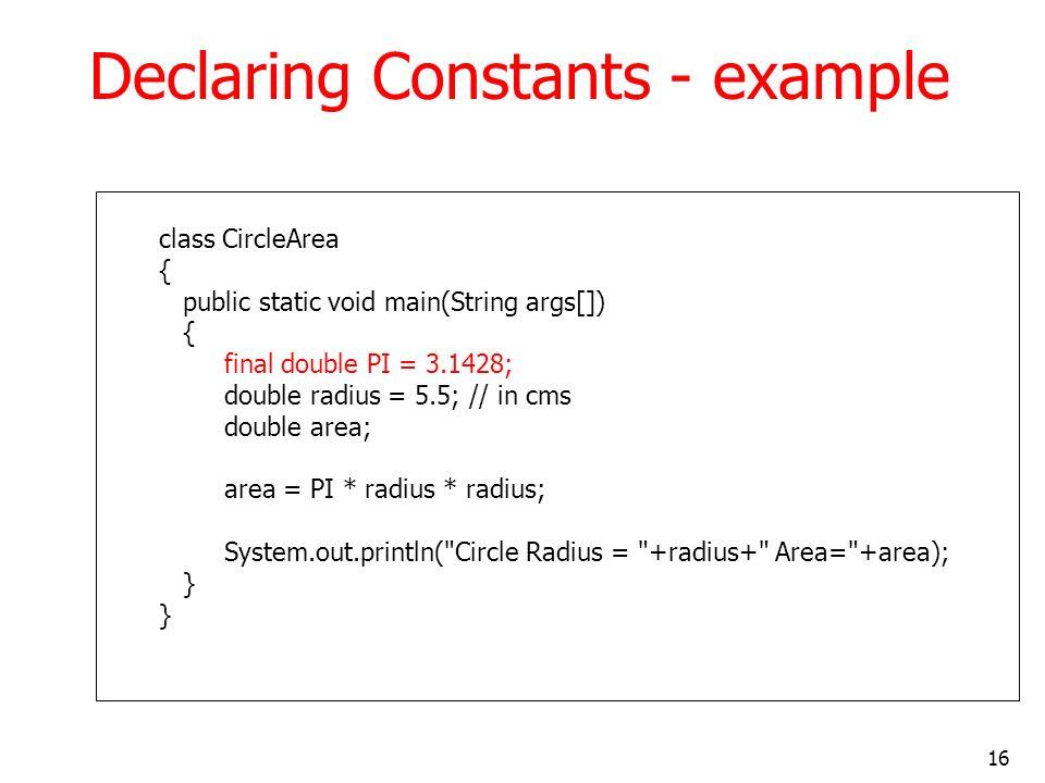 Declaring Constants - example