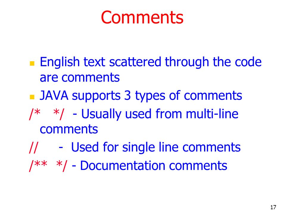 Comments English text scattered through the code are comments