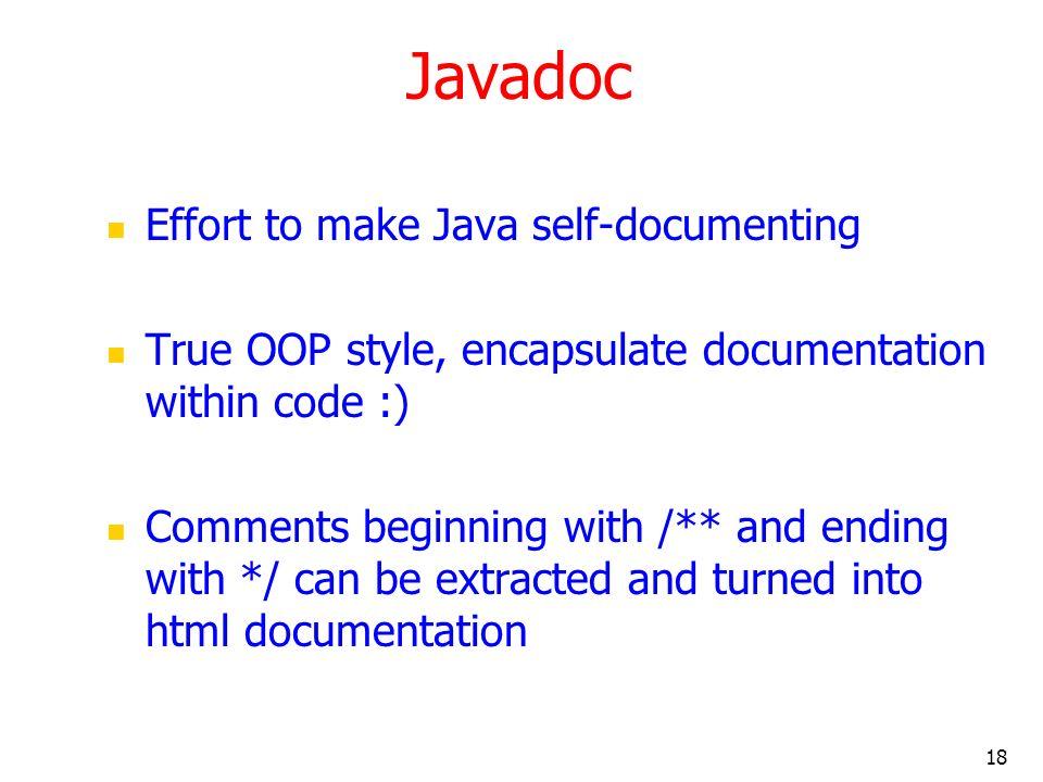 Javadoc Effort to make Java self-documenting