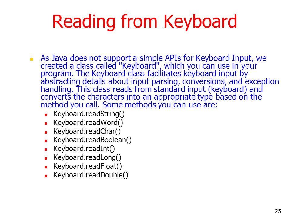 Reading from Keyboard