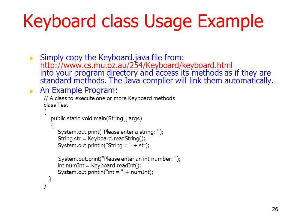 Keyboard class Usage Example