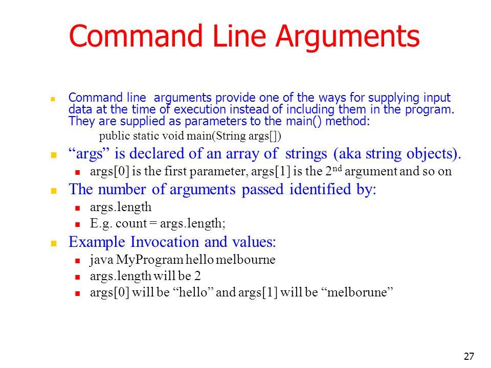 Command Line Arguments