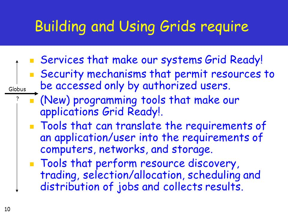 Building and Using Grids require
