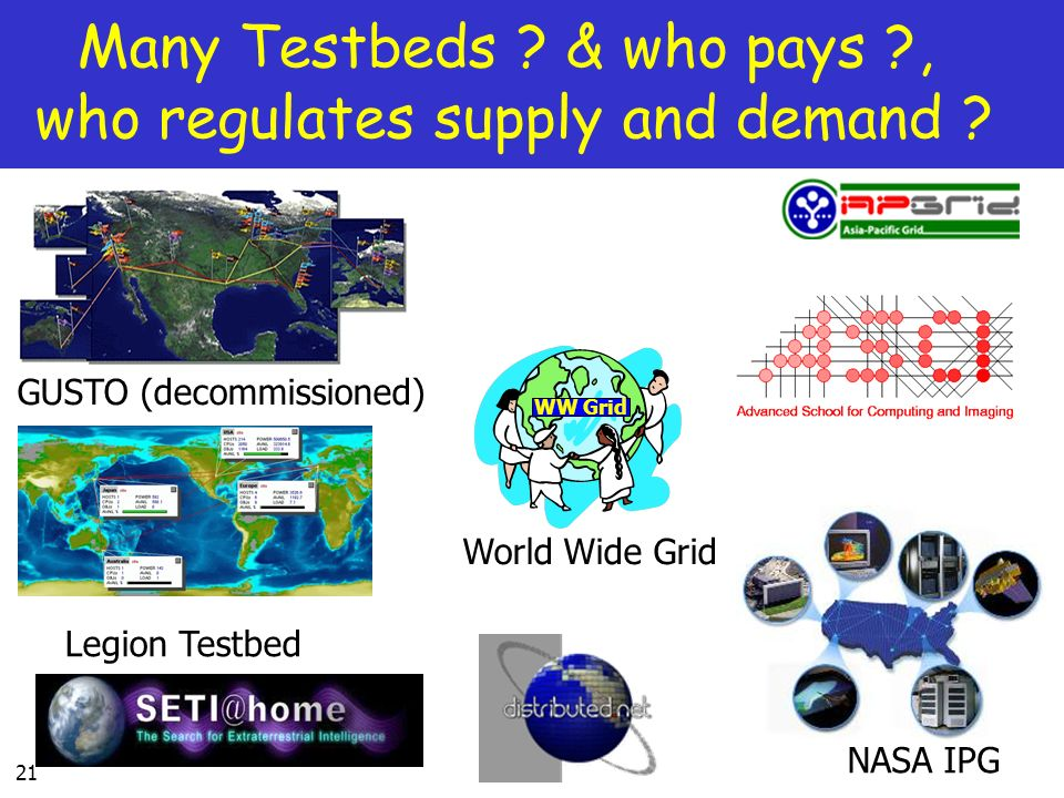 Many Testbeds & who pays , who regulates supply and demand