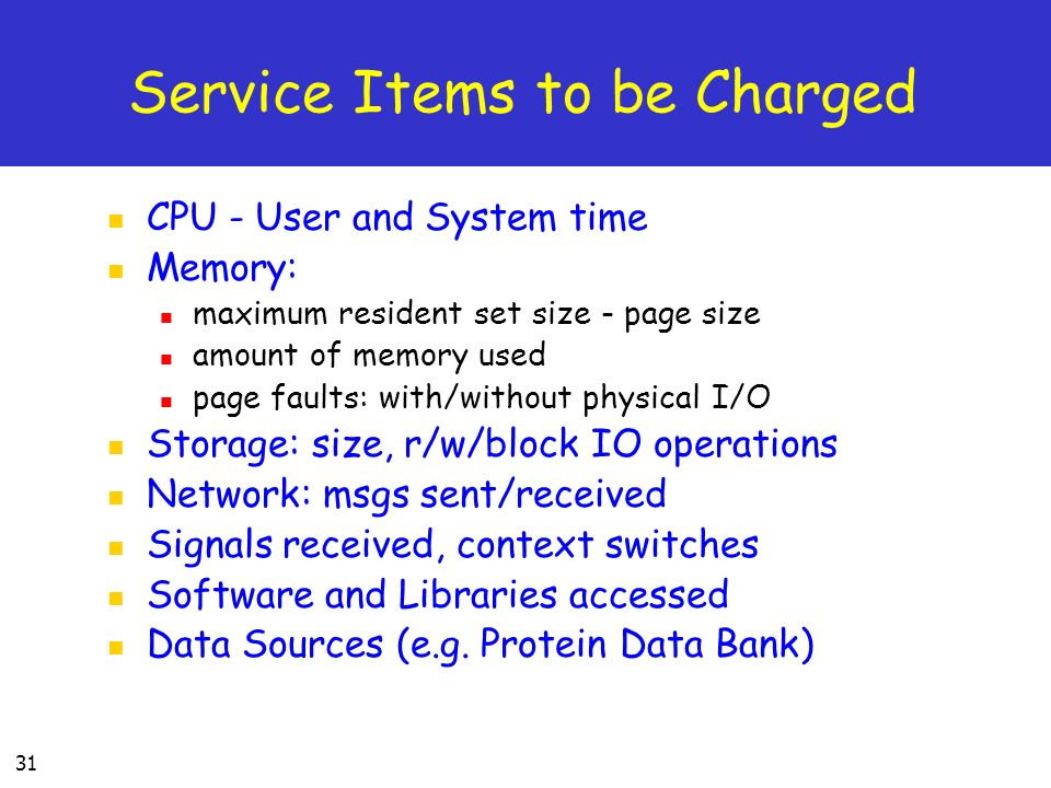 Service Items to be Charged