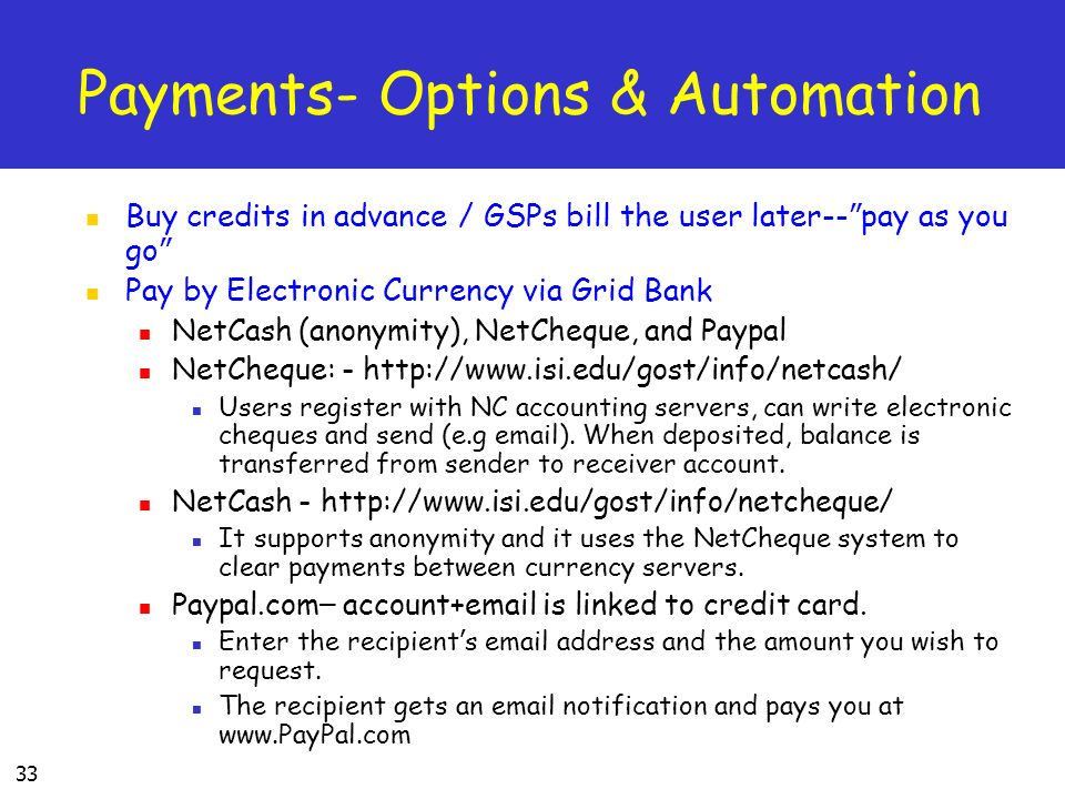 Payments- Options & Automation