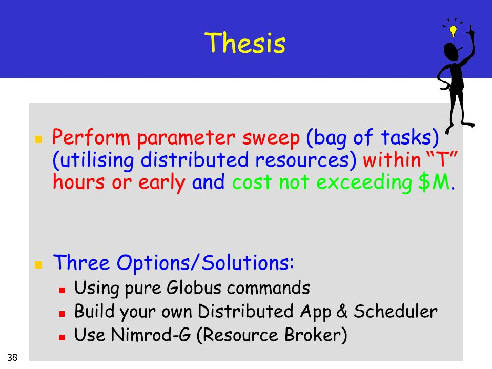 Thesis Perform parameter sweep (bag of tasks) (utilising distributed resources) within T hours or early and cost not exceeding $M.
