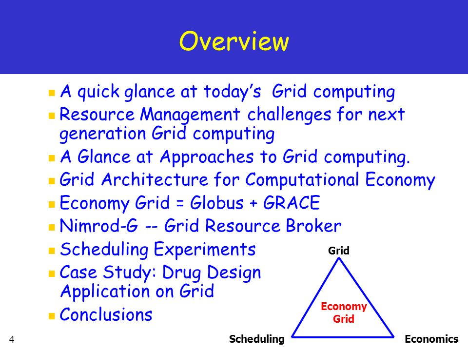 Overview A quick glance at today's Grid computing