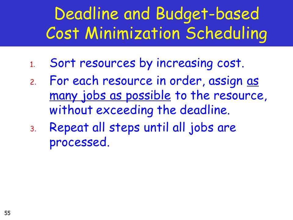 Deadline and Budget-based Cost Minimization Scheduling