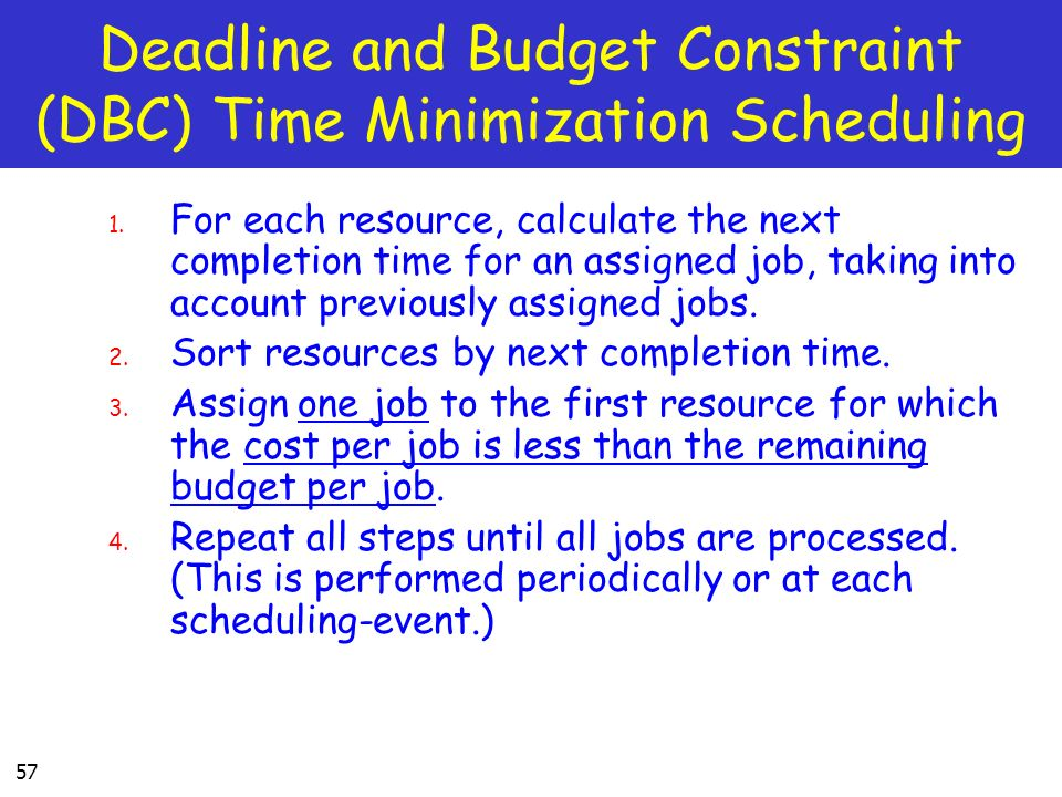 Deadline and Budget Constraint (DBC) Time Minimization Scheduling