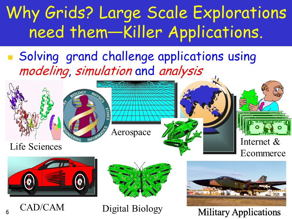 Why Grids Large Scale Explorations need them—Killer Applications.