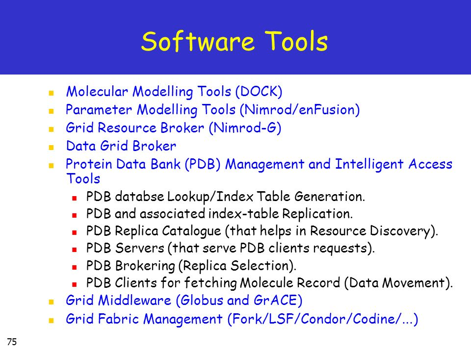 Software Tools Molecular Modelling Tools (DOCK)