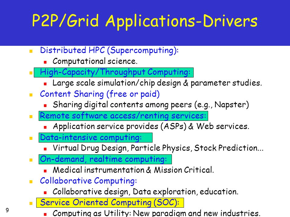 P2P/Grid Applications-Drivers
