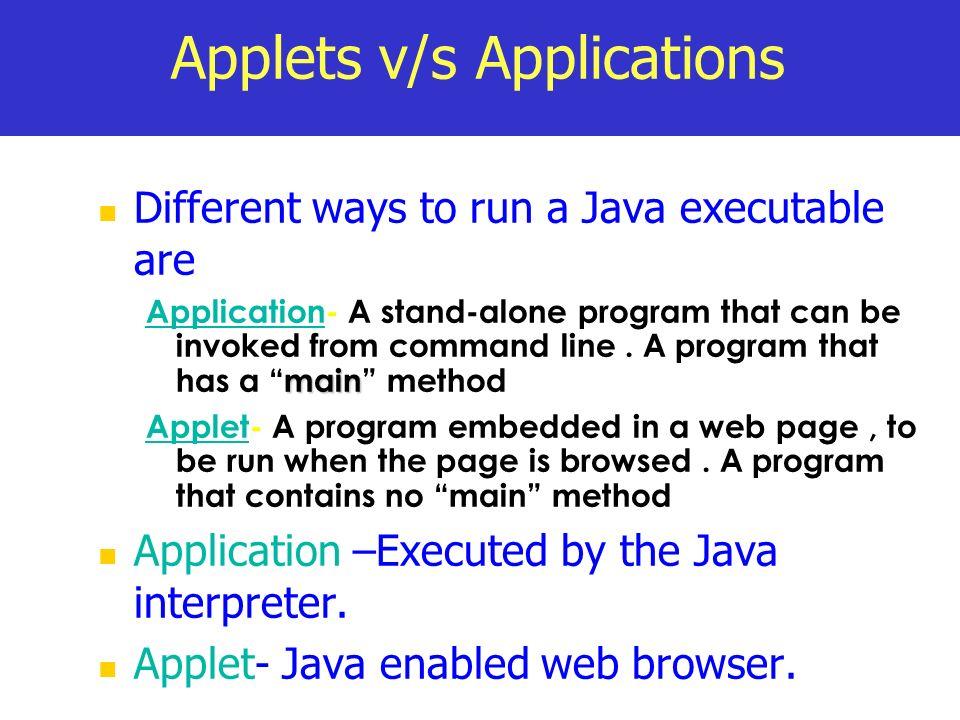 Applets v/s Applications