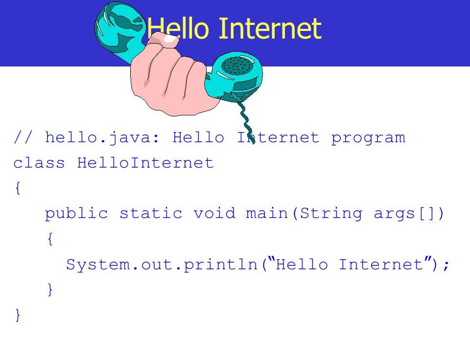 Hello Internet // hello.java: Hello Internet program
