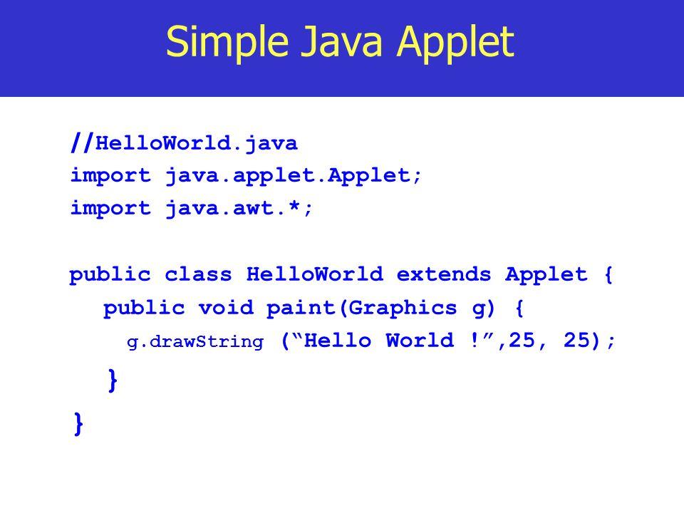 Simple Java Applet } //HelloWorld.java import java.applet.Applet;