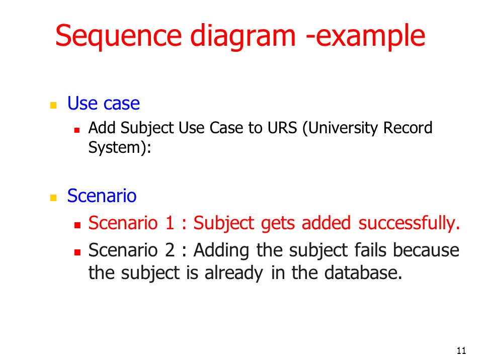 Sequence diagram -example