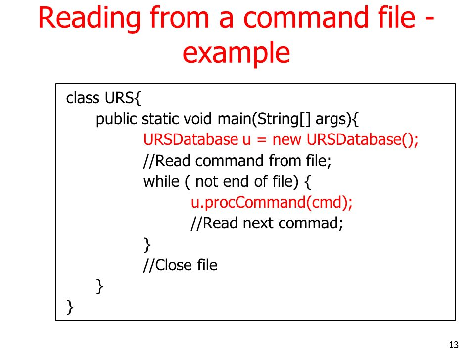 Reading from a command file - example