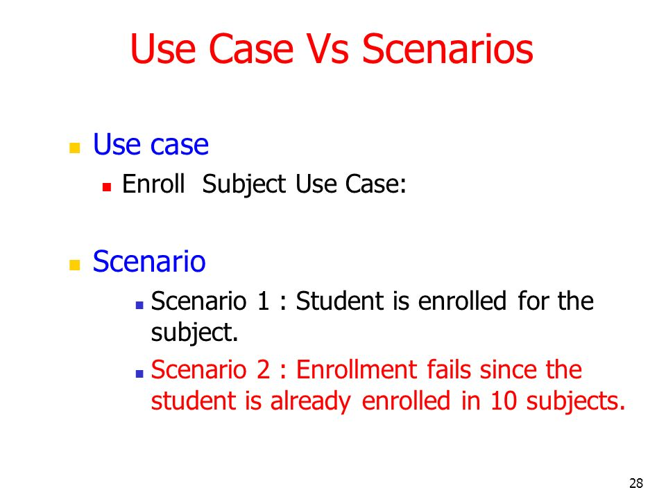 Use Case Vs Scenarios Use case Scenario Enroll Subject Use Case: