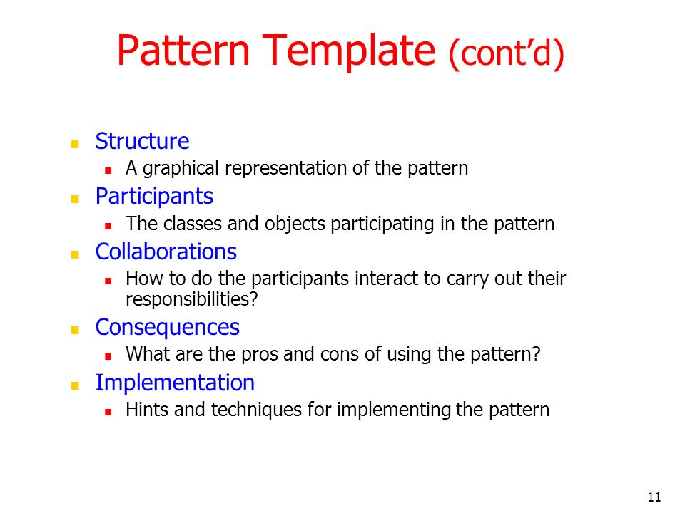 Pattern Template (cont'd)
