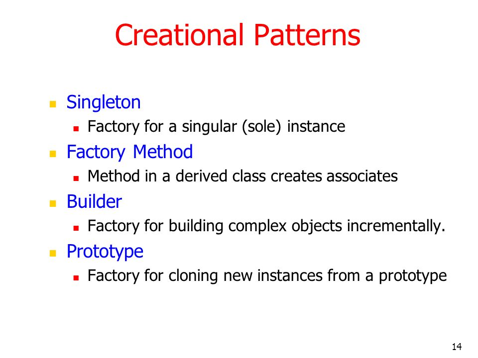 Creational Patterns Singleton Factory Method Builder Prototype