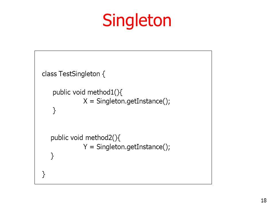 Singleton class TestSingleton { public void method1(){