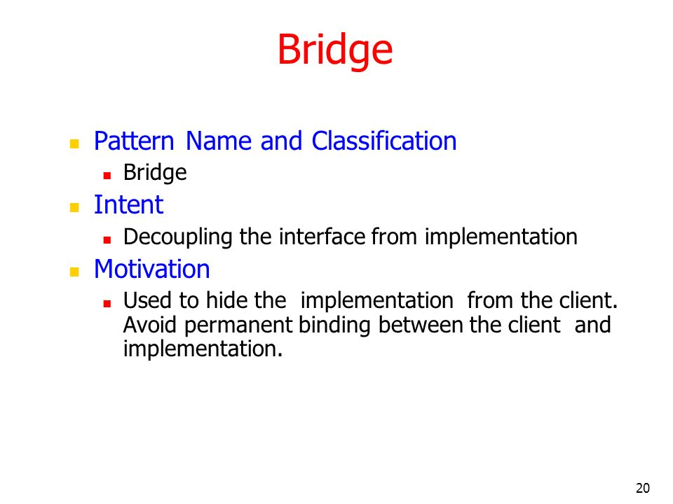 Bridge Pattern Name and Classification Intent Motivation Bridge