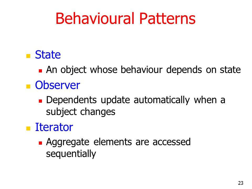 Behavioural Patterns State Observer Iterator