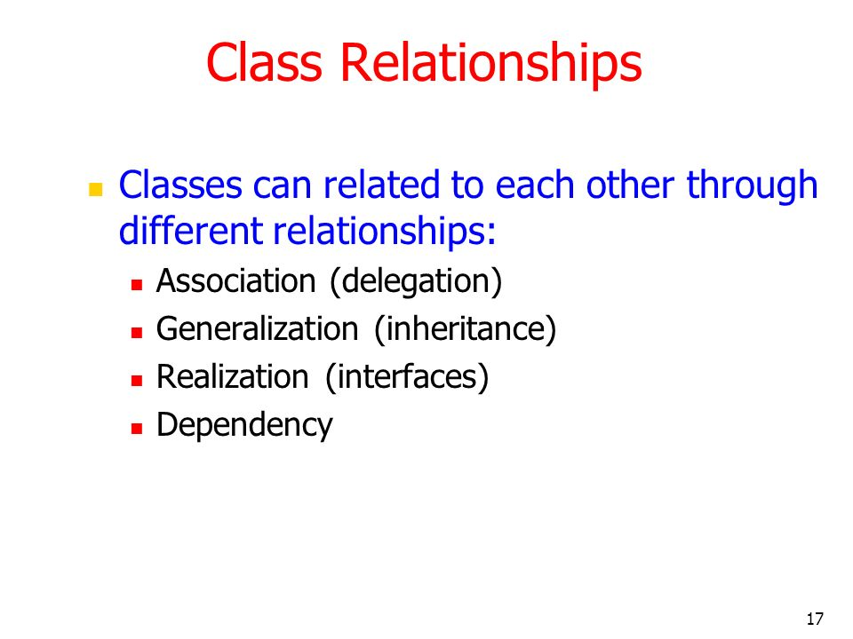 Class Relationships Classes can related to each other through different relationships: Association (delegation)