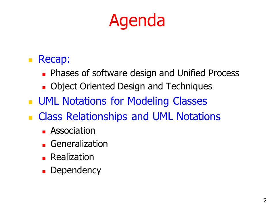 Agenda Recap: UML Notations for Modeling Classes
