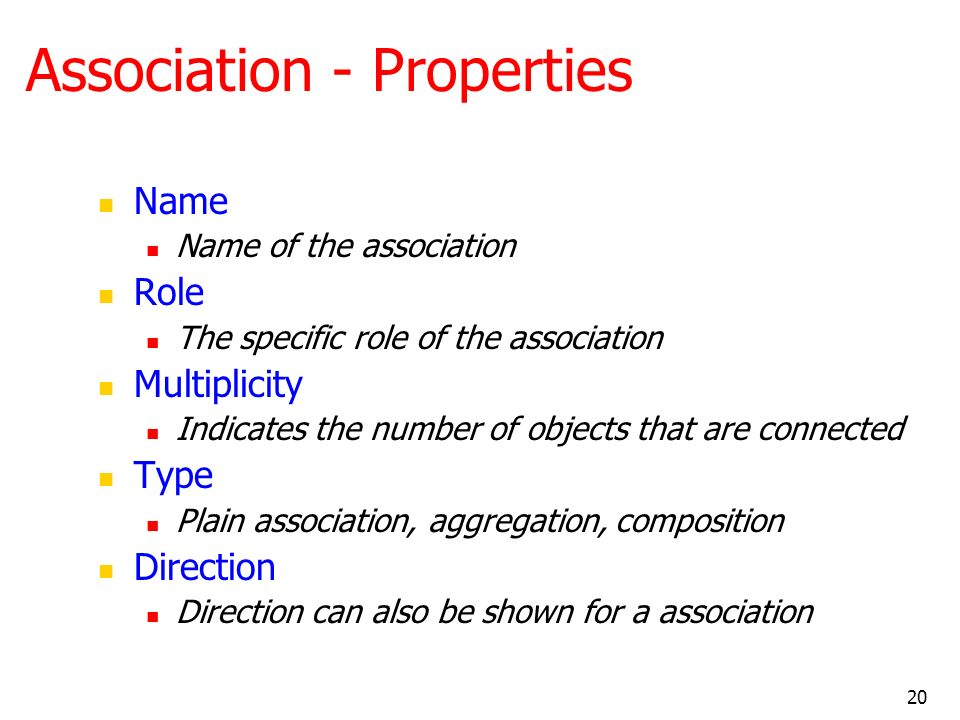 Association - Properties
