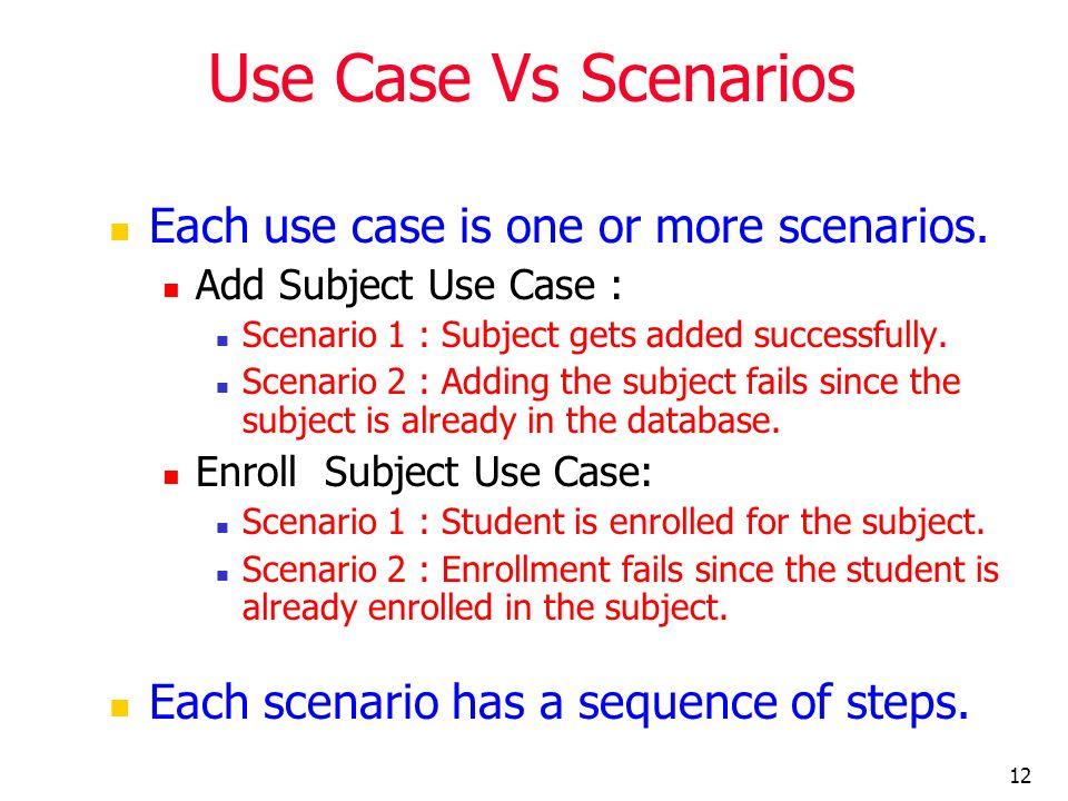 Use Case Vs Scenarios Each use case is one or more scenarios.