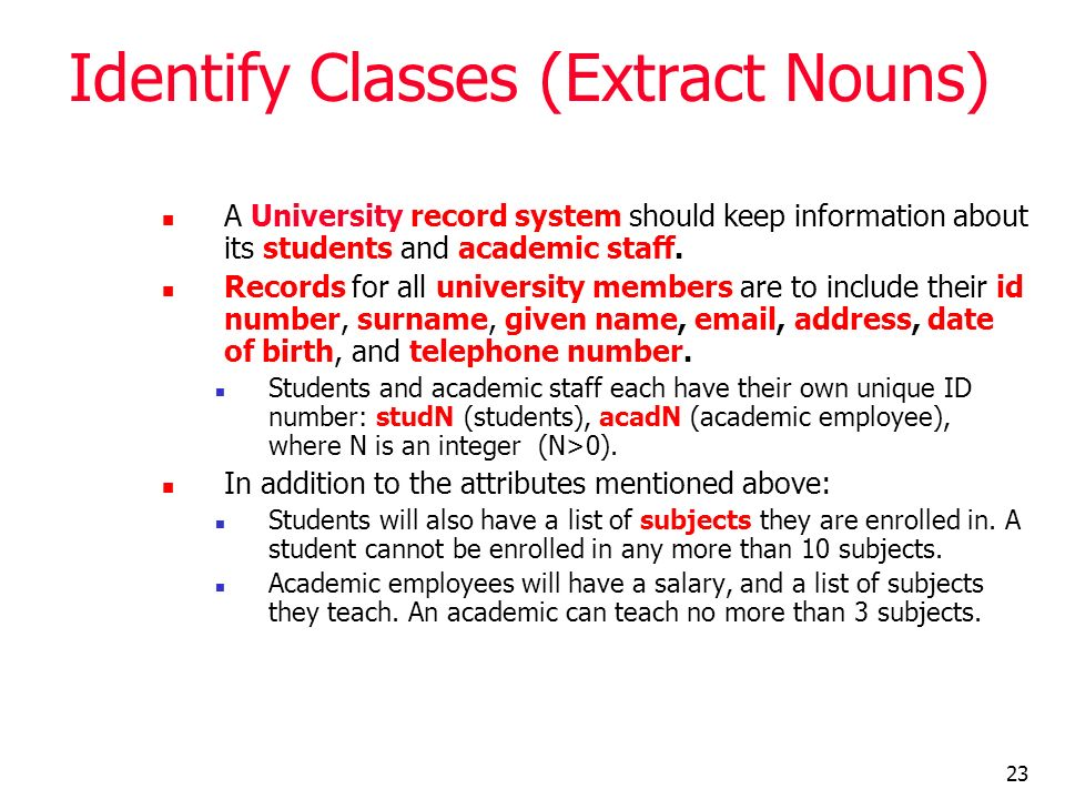 Identify Classes (Extract Nouns)