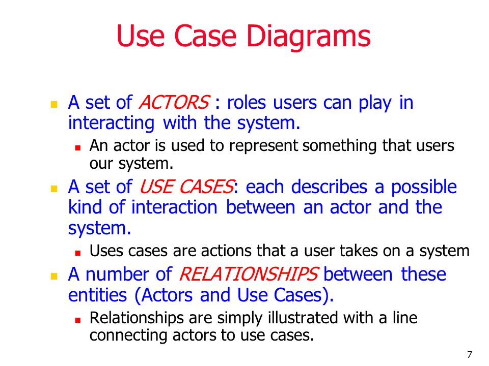 Use Case Diagrams A set of ACTORS : roles users can play in interacting with the system.