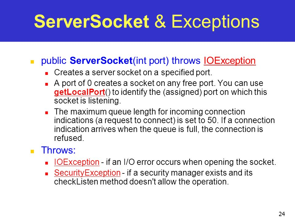 ServerSocket & Exceptions