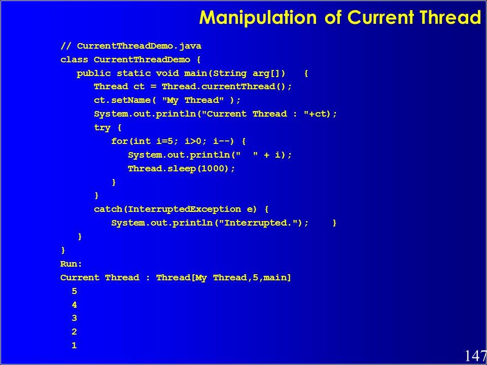 Manipulation of Current Thread