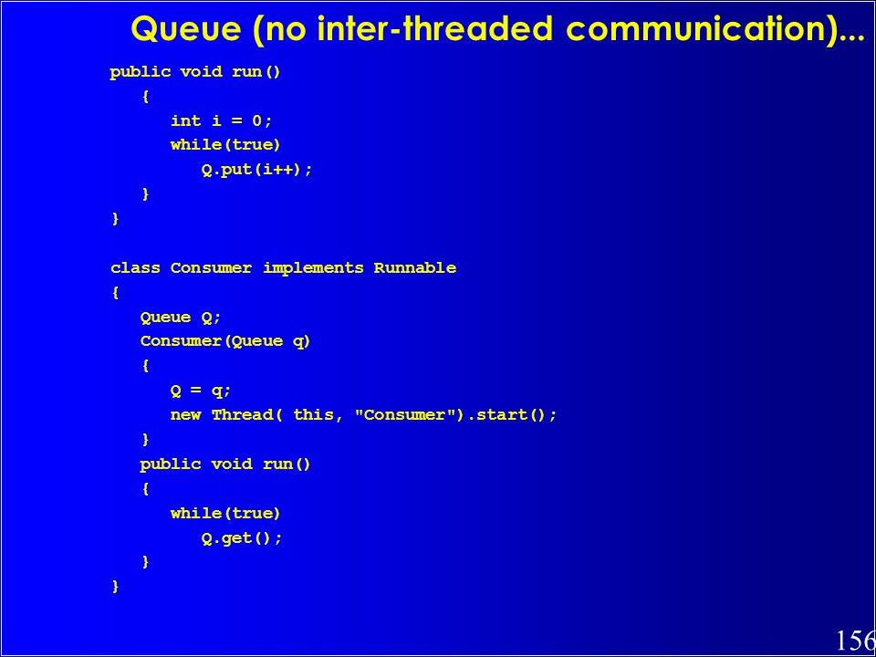 Queue (no inter-threaded communication)...