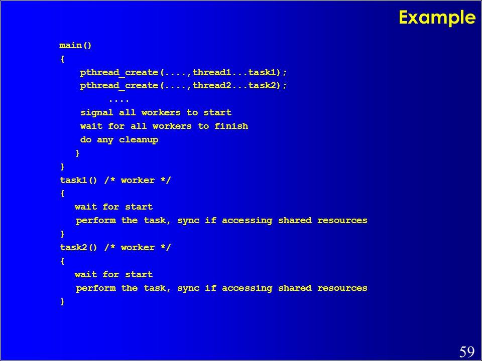 Example main() { pthread_create(....,thread1...task1);